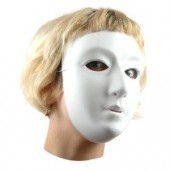 White flocked plastic mask x10